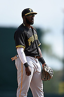 Third baseman Josh Harrison (5) of the Pittsburgh Pirates during a spring training game against the Baltimore Orioles on March 23, 2014 at McKechnie Field in Bradenton, Florida.  Baltimore and Pittsburgh played to a 7-7 tie.  (Mike Janes/Four Seam Images)
