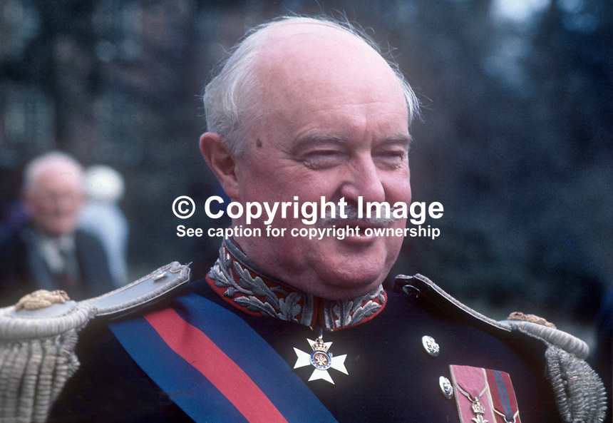 Lord Grey of Naunton, Governor of N Ireland, April, 1970, full regalia of office, 197004170107<br />