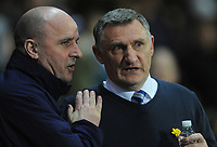 Wigan Athletic manager Paul Cook (left) and Blackburn Rovers manager Tony Mowbray<br /> <br /> Photographer Kevin Barnes/CameraSport<br /> <br /> The EFL Sky Bet Championship - Blackburn Rovers v Wigan Athletic - Tuesday 12th March 2019 - Ewood Park - Blackburn<br /> <br /> World Copyright © 2019 CameraSport. All rights reserved. 43 Linden Ave. Countesthorpe. Leicester. England. LE8 5PG - Tel: +44 (0) 116 277 4147 - admin@camerasport.com - www.camerasport.com