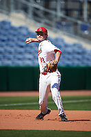 Ball State Cardinals Zach Milam (33) during practice before a game against the Louisville Cardinals on February 19, 2017 at Spectrum Field in Clearwater, Florida.  Louisville defeated Ball State 10-4.  (Mike Janes/Four Seam Images)