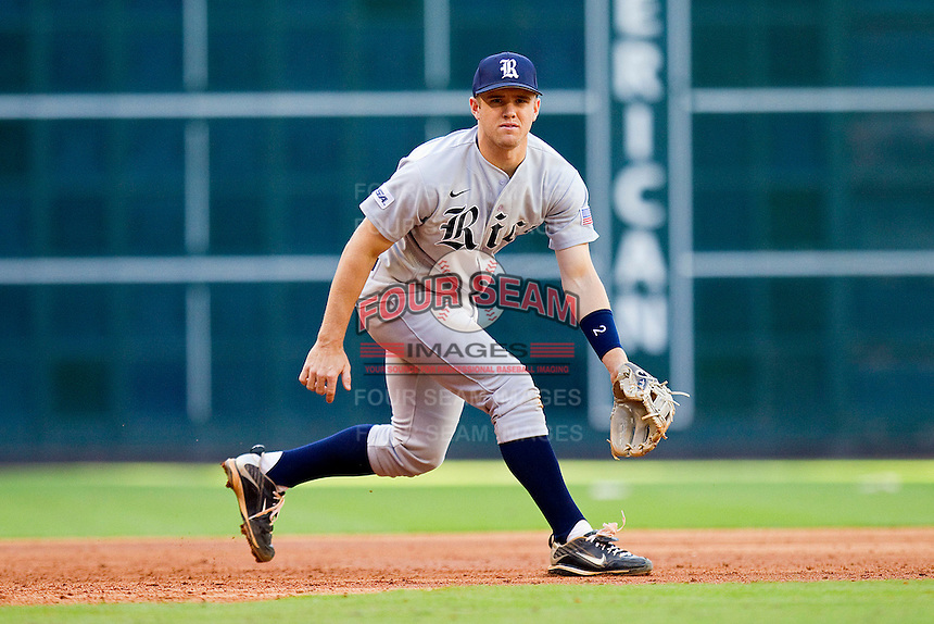 Third baseman Shane Hoelscher #2 of the Rice Owls on defense against the Baylor Bears at Minute Maid Park on March 6, 2011 in Houston, Texas.  Photo by Brian Westerholt / Four Seam Images