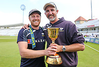 Picture by Alex Whitehead/SWpix.com - 12/09/2014 - Cricket - LV County Championship Div One - Nottinghamshire CCC v Yorkshire CCC, Day 4 - Trent Bridge, Nottingham, England - Yorkshire captain Andrew Gale and First Team Coach Jason Gillespie celebrate with the trophy.
