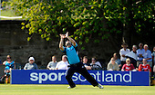 CB40 Saltires V Nottinghamshire Outlaws, at Grange CC, Edinburgh - into safe hands - Saltires Ryan Watson moves to his right to hold a catch - taking the wicket of Notts Samit Patel (off the bowling of Richie Berrington) for 61 - Picture by Donald MacLeod 23.05.10 - mobile 07702 319 738