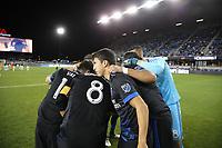 San Jose, CA - Saturday September 30, 2017: San Jose Earthquakes huddle during a Major League Soccer (MLS) match between the San Jose Earthquakes and the Portland Timbers at Avaya Stadium.