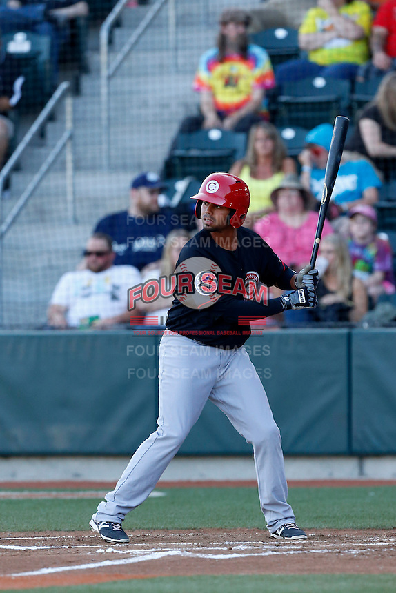 Andy Fermin #4 of the Vancouver Canadians bats against the Eugene Emeralds at PK Park on July 26, 2013 in Eugene, Oregon. Vancouver defeated Eugene, 4-3. (Larry Goren/Four Seam Images)