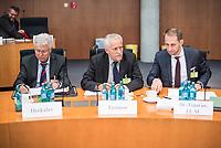 10. Sitzung des &quot;1. Untersuchungsausschuss&quot; der 19. Legislaturperiode des Deutschen Bundestag am Donnerstag den 17. Mai 2018 zur Aufklaerung des Terroranschlag durch den islamistischen Terroristen Anis Amri auf den Weihnachtsmarkt am Berliner Breitscheidplatz im Dezember 2016.<br /> In der Sitzung wurden in einer oeffentlichen Anhoerung als Sachverstaendige zum Thema: &quot;Foederale Sicherheitsarchitektur&quot; u.a. der ehemalige Chef des Bundesamt fuer Verfassungssschutz (Heinz Fromm), der ehemalige Direktor des Bundeskriminalamt (Juergen Maurer) und Rechtswissenschaftler befragt.<br /> Im Bild vlnr.: Otto Dreksler, Leitender Polizeidirektor a.D., ehemaliger Chef der Berliner Landespolizeischule und Berater der Rechtspartei &quot;Alternative fuer Deutschland&quot; (AfD); Heinz Fromm, Praesident des Bundesamtes fuer Verfassungsschutz a. D.; Dr. Nikolaos Gazeas LL.M., Rechtsanwalt, Koeln.<br /> 17.5.2018, Berlin<br /> Copyright: Christian-Ditsch.de<br /> [Inhaltsveraendernde Manipulation des Fotos nur nach ausdruecklicher Genehmigung des Fotografen. Vereinbarungen ueber Abtretung von Persoenlichkeitsrechten/Model Release der abgebildeten Person/Personen liegen nicht vor. NO MODEL RELEASE! Nur fuer Redaktionelle Zwecke. Don't publish without copyright Christian-Ditsch.de, Veroeffentlichung nur mit Fotografennennung, sowie gegen Honorar, MwSt. und Beleg. Konto: I N G - D i B a, IBAN DE58500105175400192269, BIC INGDDEFFXXX, Kontakt: post@christian-ditsch.de<br /> Bei der Bearbeitung der Dateiinformationen darf die Urheberkennzeichnung in den EXIF- und  IPTC-Daten nicht entfernt werden, diese sind in digitalen Medien nach &sect;95c UrhG rechtlich geschuetzt. Der Urhebervermerk wird gemaess &sect;13 UrhG verlangt.]