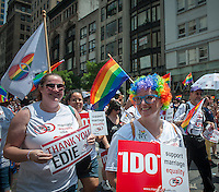 Thousands of marchers and spectators turn out for the 44th annual Lesbian, Gay, Bisexual and Transgender Pride Parade on Fifth Avenue in New York on Sunday, June 30, 2013. The turn out for the parade was especially large with the recent Supreme Court decision overturning the Defense of Marriage Act (DOMA) and California's Proposition 8. Edie Windsor, the Grand Marshal, was the lead plaintiff in the case that resulted in the over turning of DOMA.  (© Richard B. Levine)