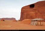 Navajo Dine Forked-Stick Male Hogan, Female Hogans and Summer Shelter, Monument Valley Navajo Tribal Park, Navajo Nation Reservation, Utah/Arizona Border