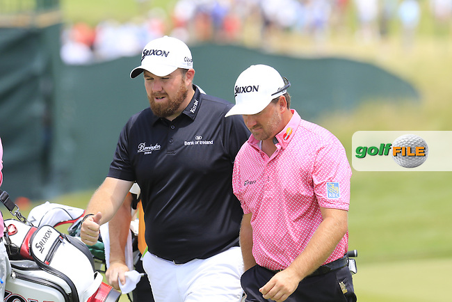 Shane Lowry (IRL) and Graeme McDowell (NIR) playing together on the 11th hole during Wednesday's Practice Day of the 2016 U.S. Open Championship held at Oakmont Country Club, Oakmont, Pittsburgh, Pennsylvania, United States of America. 15th June 2016.<br /> Picture: Eoin Clarke | Golffile<br /> <br /> <br /> All photos usage must carry mandatory copyright credit (&copy; Golffile | Eoin Clarke)