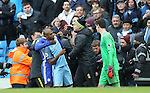 Fernandinho of Manchester City is grabbed by Michy Batshuayi of Chelsea after he pushed Cesc Fabregas of Chelsea into the crowd during the Premier League match at the Etihad Stadium, Manchester. Picture date: December 3rd, 2016. Pic Simon Bellis/Sportimage