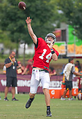 New York Jets quarterback Sam Darnold (14) releases a pass as he and his teammates participate in a joint training camp practice with the Washington Redskins at the Washington Redskins Bon Secours Training Facility in Richmond, Virginia on Monday, August 13, 2018.<br /> Credit: Ron Sachs / CNP<br /> (RESTRICTION: NO New York or New Jersey Newspapers or newspapers within a 75 mile radius of New York City)