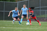 Piscataway, NJ - Sunday April 24, 2016: Washington Spirit forward Crystal Dunn (19) is defended by Sky Blue FC defender Christie Rampone (3). The Washington Spirit defeated Sky Blue FC 2-1 during a National Women's Soccer League (NWSL) match at Yurcak Field.