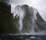 Waterfall in Milford Sound Fiordland National Park. New Zealand.