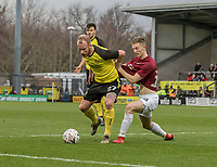 5th January 2020; Pirelli Stadium, Burton Upon Trent, Staffordshire, England; English FA Cup Football, Burton Albion versus Northampton Town; Liam Boyce of Burton Albion being pulled back by Camron McWilliams of Northampton Town  - Strictly Editorial Use Only. No use with unauthorized audio, video, data, fixture lists, club/league logos or 'live' services. Online in-match use limited to 120 images, no video emulation. No use in betting, games or single club/league/player publications