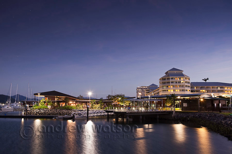 Marina Point with Shangri-La Hotel at The Pier in background.  Marina Point, Cairns, Queensland, Australia