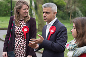 Sadiq Khan with Camden Council leader Georgia Gould.  Labour Party local election campaign, Fortune Green, West Hampstead and Seiss Cottage wards, London Borough of Camden.