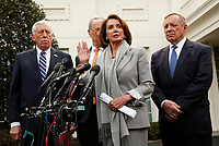 Speaker of the United States House of Representatives Nancy Pelosi (Democrat of California) speaks to reporters after the meeting with US President Donald J. Trump that resulted in his walking out of the meeting on the government shutdown, at the White House, in Washington, D.C., January 9, 2019.  Standing behind the Speaker, from left to right: US House Majority Leader Steny Hoyer (Democrat of Maryland), US Senate Minority Leader Chuck Schumer (Democrat of New York) and US Senator Dick Durbin (Republican of Illinois). Photo Credit: Martin H. Simon/CNP/AdMedia