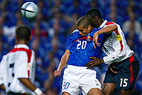 David Trezeguet of France and Ledley King of England compete for the ball during the European Championship football match between France and England. France won 2-1 over England <br /> Lisbon 13/6/2004 Estadio da Luz <br /> Photo Andrea Staccioli Insidefoto