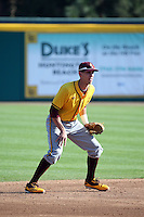 Colby Woodmansee (37) of the Arizona State Sun Devils in the field at shortstop during a game against the Long Beach State Dirtbags at Blair Field on February 27, 2016 in Long Beach, California. Long Beach State defeated Arizona State, 5-2. (Larry Goren/Four Seam Images)