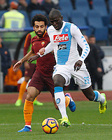 Napoli&rsquo;s Kalidou Koulibaly, right, is challenged by Roma&rsquo;s Mohamed Salah during the Italian Serie A football match between Roma and Napoli at Rome's Olympic stadium, 4 March 2017. <br /> UPDATE IMAGES PRESS/Riccardo De Luca