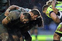 The Leicester Tigers front row of Fraser Balmain, Greg Bateman and Logovi'i Mulipola prepare to scrummage. Aviva Premiership match, between Leicester Tigers and Sale Sharks on February 6, 2016 at Welford Road in Leicester, England. Photo by: Patrick Khachfe / JMP