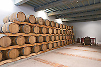 Oak barrel aging and fermentation cellar. Chateau les Pins, Baixas, Roussillon, France