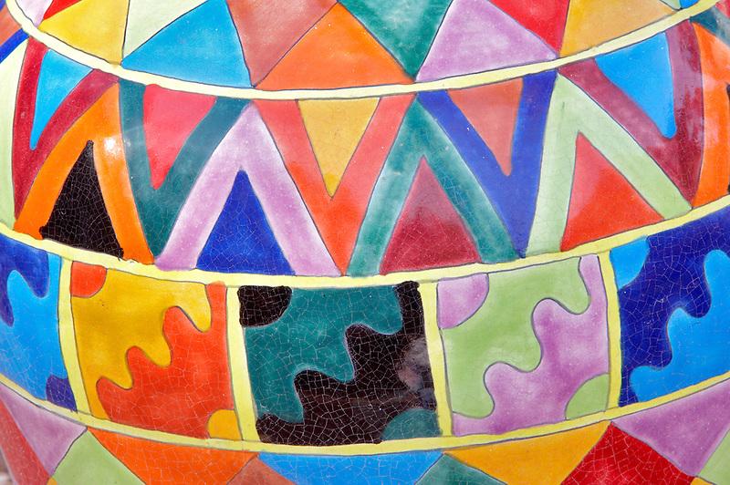 Close up of colorful pots. Tubac. Arizona