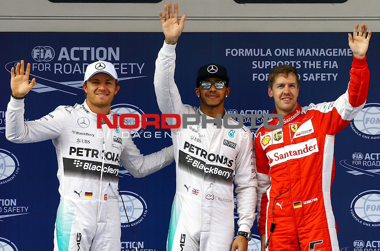 12.04.2015, Shanghai-International-Circuit, Schanghai, CHN, Gro&szlig;er Preis von China / Schanghai 2015, im Bild  Nico Rosberg (GER), Mercedes GP - Lewis Hamilton (GBR), Mercedes GP - Sebastian Vettel (GER), Scuderia Ferrari<br /> for the complete Middle East, Austria &amp; Germany Media usage only!<br />  Foto &copy; nph / Mathis