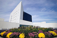 Exterior view of John F. Kennedy Presidential Library and Museum, Boston, MA, designed by celebrated architect and designer I. M. Pe