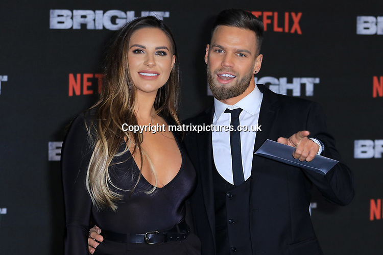 NON EXCLUSIVE PICTURE: MATRIXPICTURES.CO.UK<br /> PLEASE CREDIT ALL USES<br /> <br /> WORLD RIGHTS<br /> <br /> Jessica Shears and Dominic Lever attending the UK premiere of Netflix's 'Bright', held on London's Southbank.<br /> <br /> DECEMBER 15th 2017<br /> <br /> REF: MES 172875