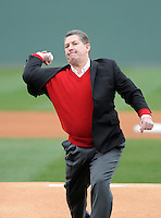 Athletics director Ray Tanner of the South Carolina Gamecocks throws out the first pitch prior to a game against the Clemson Tigers on Saturday, March 2, 2013, at Fluor Field at the West End in Greenville, South Carolina. Clemson won the Reedy River Rivalry game 6-3. (Tom Priddy/Four Seam Images)