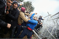 2016 02 29 Refugees clash with police at Greek FYRO Macedonian border,Idomeni,Greece