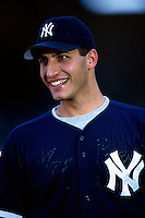 Andy Pettitte of the New York Yankees plays in a baseball game at Edison International Field during the 1998 season in Anaheim, California. (Larry Goren/Four Seam Images)