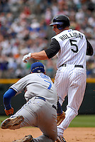 04 May 2008: LosAngeles Dodgers 1st baseman James Loney tags out Colorado Rockies left fielder Matt Holliday in a blooper play. The Colorado Rockies scored one run and the Dodgers recorded one out on the play during the team's game on May 4, 2008 at Coors Field in Denver, Colorado. The Rockies defeated the Dodgers 7-2. FOR EDITORIAL USE ONLY. FOR EDITORIAL USE ONLY