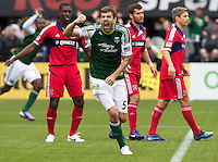PORTLAND, OR - MAY 20: Portland Timbers defender Eric Brunner (5) celebrates goal vs. Chicago Fire at JELD-WEN Field on May 20, 2012.  (Steve Dipaola/Portland Timbers)