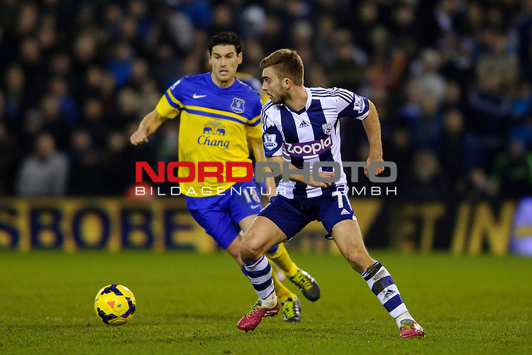 West Brom Midfielder James Morrison is challenged by Everton Midfielder Gareth Barry (ENG) -  - 20/01/2014 - SPORT - FOOTBALL - The Hawthorns Stadium - West Bromwich Albion v Everton - Barclays Premier League.<br /> Foto nph / Meredith<br /> <br /> ***** OUT OF UK *****