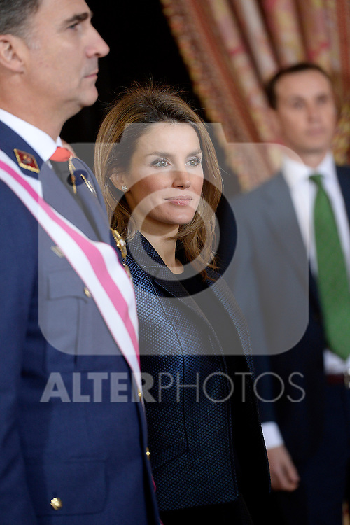Prince Felipe and Princess Letizia of Spain during the Pascua Militar ceremony.January 06 ,2014. (ALTERPHOTOS/Pool)