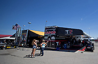 Apr. 5, 2013; Las Vegas, NV, USA: (Editors note: Special effects lens used in creation of this image) The hauler for NHRA top fuel dragster driver Steve Torrence in the pits during qualifying for the Summitracing.com Nationals at the Strip at Las Vegas Motor Speedway. Mandatory Credit: Mark J. Rebilas-