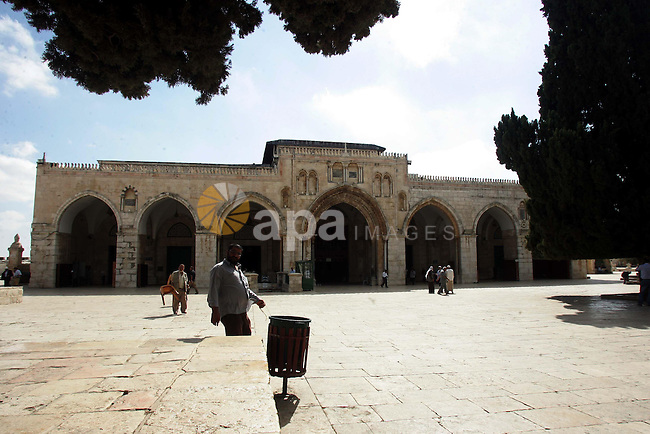 Palestinians walk in the Al Aqsa Mosque compound, also known to Jews as the Temple Mount, in Jerusalem's old city on Oct. 25, 2010. Photo by Mahfouz Abu Turk