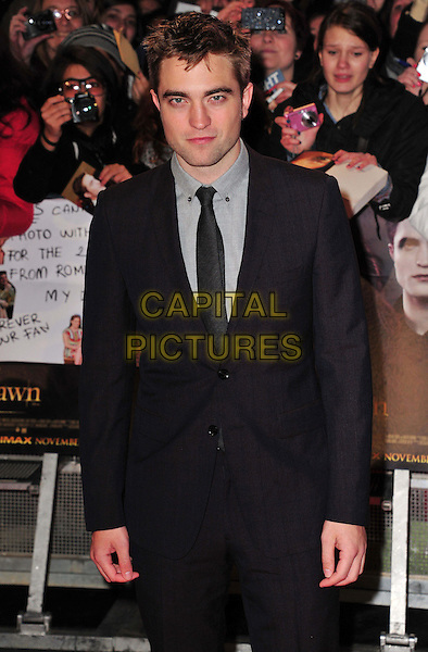 Robert Pattinson.'The Twilight Saga: Breaking Dawn Part 2' European film premiere, Empire cinema, Leicester Square, London, England..14th November 2012.half length black blue grey gray shirt suit tie .CAP/BF.©Bob Fidgeon/Capital Pictures