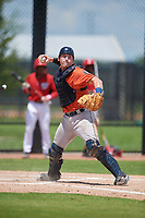 GCL Astros catcher Tyler Krabbe (56) throws to first base during a Gulf Coast League game against the GCL Nationals on August 9, 2019 at FITTEAM Ballpark of the Palm Beaches training complex in Palm Beach, Florida.  GCL Nationals defeated the GCL Astros 8-2.  (Mike Janes/Four Seam Images)