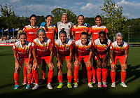 Kansas City, MO - Sunday July 02, 2017:  The Houston Dash Starting 11 for the match, Jane Campbell, Poliana Barbosa Medeiros, Amber Brooks, Janine Van Wyk, Camille Levin, Andressa Cavalari Machry, Cami Privett, Janine Beckie, Rachel Daly, Carli Lloyd, and Nichelle Prince before a regular season National Women's Soccer League (NWSL) match between FC Kansas City and the Houston Dash at Children's Mercy Victory Field.