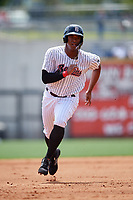 Birmingham Barons left fielder Eloy Jimenez (21) runs the bases during a game against the Pensacola Blue Wahoos on May 9, 2018 at Regions FIeld in Birmingham, Alabama.  Birmingham defeated Pensacola 16-3.  (Mike Janes/Four Seam Images)