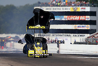 Aug. 17, 2013; Brainerd, MN, USA: NHRA top fuel dragster driver Morgan Lucas during qualifying for the Lucas Oil Nationals at Brainerd International Raceway. Mandatory Credit: Mark J. Rebilas-