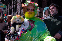 """Miss Columbia"", Oswuld Gomez and his dog Carino in St. Pat's finery.  246th Saint Patrick's Day Parade,  marches up 5th Avenue,  March 17, 2007.  (© Frances Roberts)"
