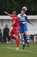 James Peagram of Walthamstow and Danny Haigh of Ilford during Ilford vs Walthamstow, Essex Senior League Football at Cricklefields Stadium on 6th October 2018