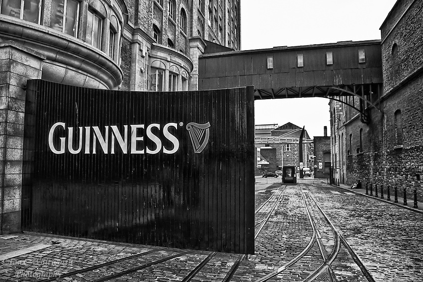 A view of the entrance gates to the Guinness Brewery in Dublin Ireland in B&W.