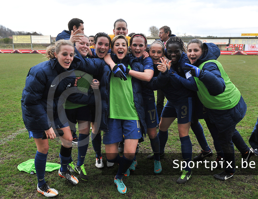 Switzerland U19 - France U19 : France celebrating their win and qualification.foto DAVID CATRY / Nikonpro.be