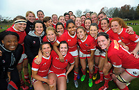 The Canada team celebrates winning the 2017 International Women's Rugby Series rugby match between Canada and Australia Wallaroos at Smallbone Park in Rotorua, New Zealand on Saturday, 17 June 2017. Photo: Dave Lintott / lintottphoto.co.nz