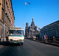 Coach parked by the Cathedral of the Resurrection. Series of images of Leningrad/St Petersburg Russia 1976